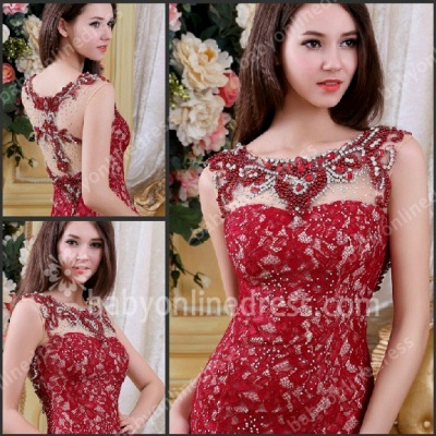 Charming Red Evening Dresses Scoop Crystal Beading Cap Sleeve A Line Lace Formal Evening Gowns_4