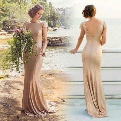 Elegant Sequined Short-Sleeve Zipper Long Bridesmaid Dresses_2