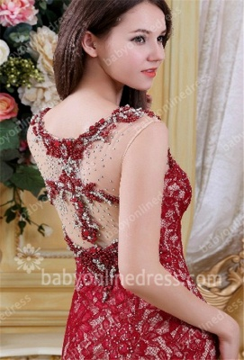 Charming Red Evening Dresses Scoop Crystal Beading Cap Sleeve A Line Lace Formal Evening Gowns_3