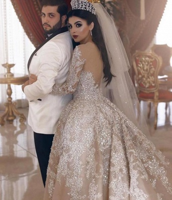 Sparkling Beads V-neck Crystal Ball Gown Wedding Dresses | Backless Sheer Tulle Long Sleeve Bridal Gowns_2