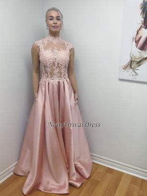 A-Line Long Lace-Applique Chic Illusion Bodice High-Neck Prom Dresses_1
