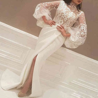 Elegant New Arrival Beautiful Lace High Neck Long Sleeve Wedding Dresses_3
