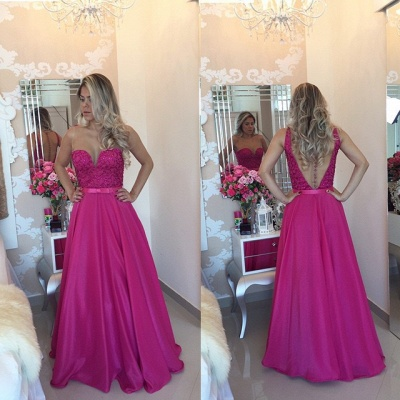 New Arrival A-Line Sleeveless Prom Dresses Sheer Illusion Beaded Evening Gowns with Bow BT00_2