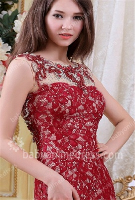 Charming Red Evening Dresses Scoop Crystal Beading Cap Sleeve A Line Lace Formal Evening Gowns_1