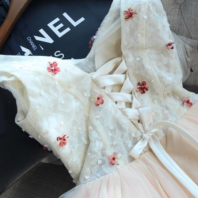 Cute Flowers Lace Straps Sexy Short Homecoming Dresses | Lace-up Party Gown_4