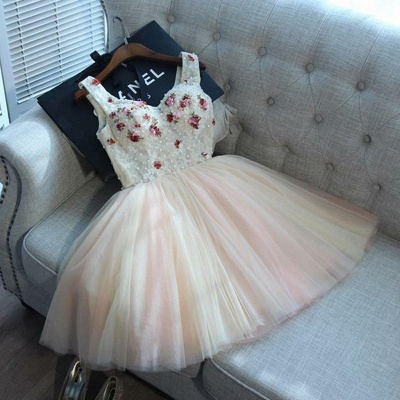Cute Flowers Lace Straps Sexy Short Homecoming Dresses | Lace-up Party Gown_3