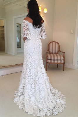 Sexy Off The Shoulder Simple Half Sleeves Beautiful Lace Wedding Dresses_3