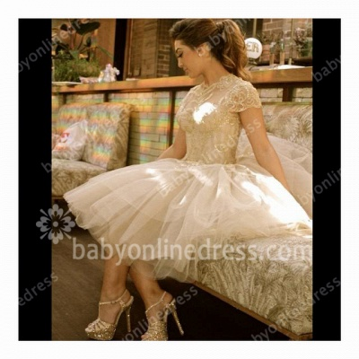 Short Sleeve High Neck Prom Gowns Appliques Sequined Tiered Ruffle Tulle Evening Dresses_5
