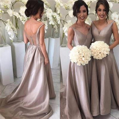 Simple Stretch-Satin Sheer-Tulle V-neck Open-Back Sleeveless Bridesmaid Dress_3