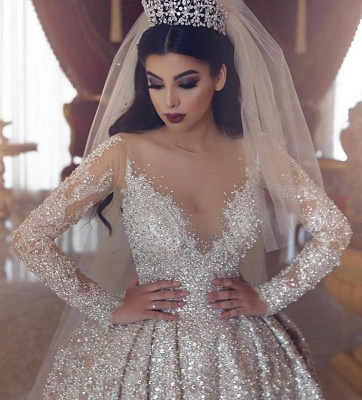 Sparkling Beads V-neck Crystal Ball Gown Wedding Dresses | Backless Sheer Tulle Long Sleeve Bridal Gowns_3