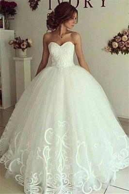 Sweetheart-Neck Appliques Cheap Online Elegant Ball Gown Wedding Dresses_2