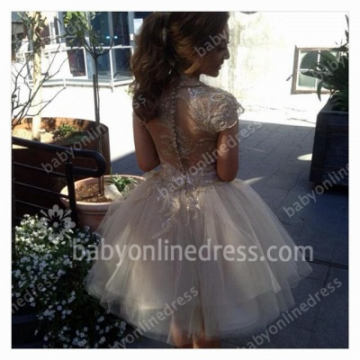 Short Sleeve High Neck Prom Gowns Appliques Sequined Tiered Ruffle Tulle Evening Dresses_6