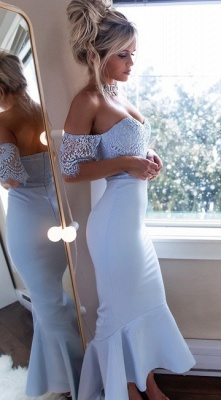 Off-The-Shoulder Mermaid Prom Dresses | High-Low Lace Bridesmaid Dresses_5