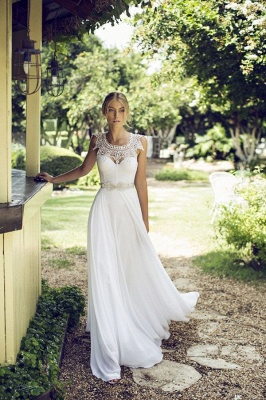 Beach Chiffon Sleeveless Summer Long Glamorous Wedding Dress Cheap_5