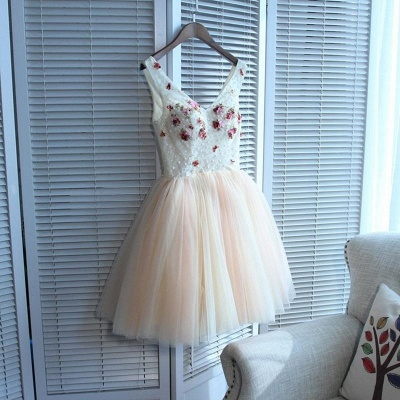 Cute Flowers Lace Straps Sexy Short Homecoming Dresses | Lace-up Party Gown_5