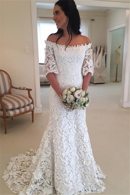 Sexy Off The Shoulder Simple Half Sleeves Beautiful Lace Wedding Dresses_2