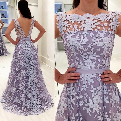Elegant Lace A-line Illusion Sleeveless Evening Dress |Evening Gown_1