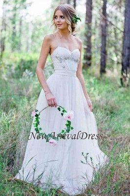 Tulle A-Line Custom Made Sexy Spaghetti Straps Beadings Simple Wedding Dresses_1