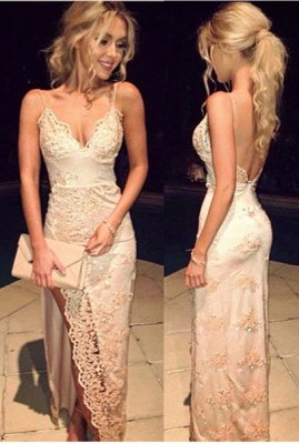 2018 Spaghetti Straps Prom Dresses Side Slit V Neck Sequins Floor Length Sexy Evening Gowns