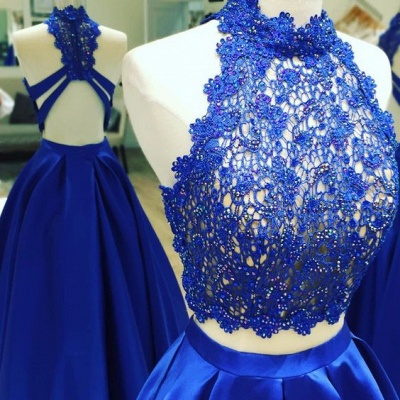 Two Piece Long Prom Dresses Cheap with Lace | Open Back Sleeveless Formal Dresses_2