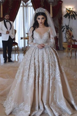 Sparkling Beads V-neck Crystal Ball Gown Wedding Dresses | Backless Sheer Tulle Long Sleeve Bridal Gowns