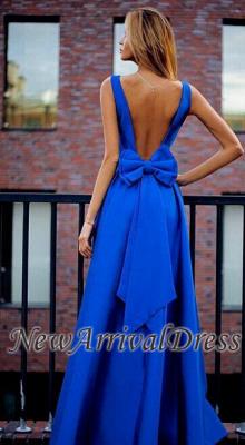 Open-Back Floor-Length Elegant Bowknot Royal-Blue Prom Dresses_3