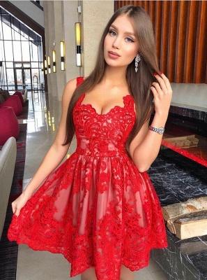 Classic Red Lace Homecoming Dresses  Spaghetti Straps Mini Cocktail Dresses_1