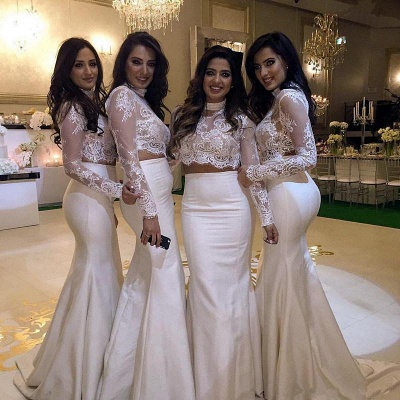 Lace Cheap High-Neck Long-Sleeve Mermaid Two-Piece Bridesmaid Dress_3