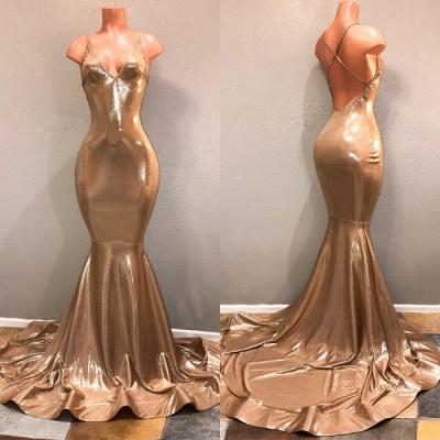 Spaghetti Strap Open Back Plus Size Long Prom Dresses Cheap | Sleeveless Mermaid Formal Dresses BA8432_3