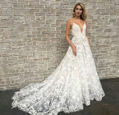 Elegant V-Neck Lace A-line Wedding Dresses | Spaghetti Straps Sleeveless Bridal Gowns_3
