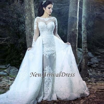Sheath Beautiful Lace Long Sleeve Amazing Sheer Tulle Overskirt Wedding Dresses_1