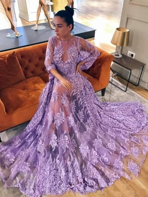 Modern Lace Lavender Half Sleeve Prom Dress | Backless Prom Dress_2