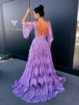 Modern Lace Lavender Half Sleeve Prom Dress | Backless Prom Dress_3