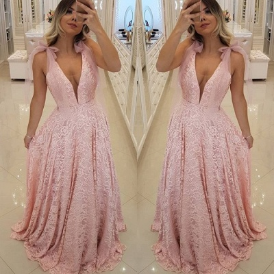 Gorgeous Pink V-Neck 2019 Prom Dress | Lace Evening Dress Long_3
