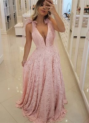 Gorgeous Pink V-Neck 2019 Prom Dress | Lace Evening Dress Long_1