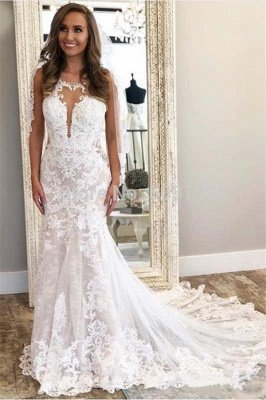 Spaghetti Straps Lace Mermaid Wedding Dresses | Cheap Open Back Bridal Gowns Online