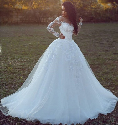 Appliques Glamorous Tulle Long Sleeve Ball Gown Wedding Dresses Cheap Online_3
