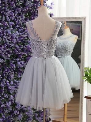 Modern Jewel Sleeveless Flowers Bowknot Sexy Short Homecoming Dresses_3