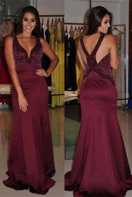 Modern Straps Mermaid Sleeveless Beading Long Prom Dress | Plus Size Prom Dress_1
