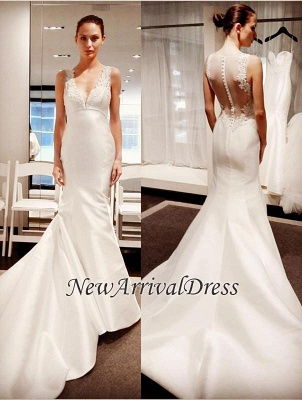 New Arrival V-Neck Gorgeous Sleeveless Lace Appliques Mermaid Button Wedding Dresses_1
