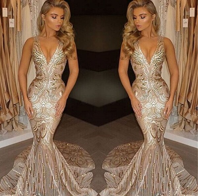 Champagne Gold V-neck Sleeveless Mermaid Sexy Deep Sequins Evening Gown_3