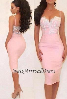 Pink Glamorous Lace Spaghetti-Straps Mermaid Prom Dress_3