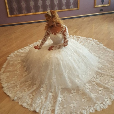 Vintage New Arrival Lace Appliques Cheap Online Gorgeous Long Sleeves Elegant Ball Gown Wedding Dresses_3