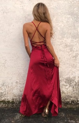Sexy Simple Red Backless Prom Dresses Side Split Halter Party Gowns SK0038_3