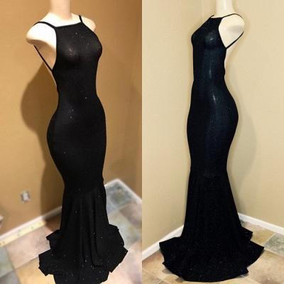 Spaghetti Straps Open Back Black Long Prom Dresses Cheap   Tight Formal Evening Dresses for Women BA9013_4