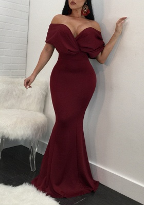 Simple Off-The-Shoulder Evening Dresses | Draped Backless Bodycon Banquet Party Maxi Dresses_3