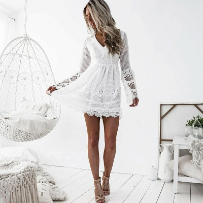 Cute White Lace Long Sleeve Homecoming Dress | Short Formal Gown_3