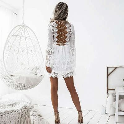 Cute White Lace Long Sleeve Homecoming Dress | Short Formal Gown_4