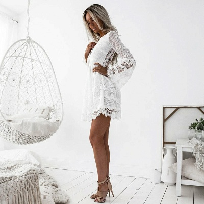 Cute White Lace Long Sleeve Homecoming Dress | Short Formal Gown_5