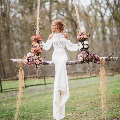 Chiffon Mermaid Elegant Long Sleeve Cheap Online Lace Appliques Wedding Dresses_2